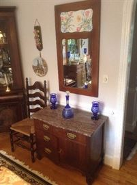 Antique marble top side cabinet.