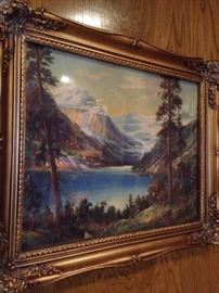 Mountain/lake framed art