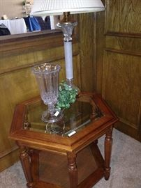 Hexagonal glass top side table; another lamp