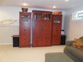 """Cherry color.  Lots of storage.  Tallest piece is 80"""" tall,"""