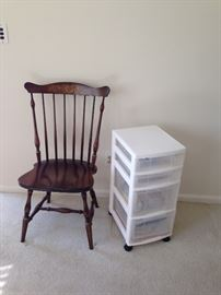 Solid wood chair and rolling storage cabinet!