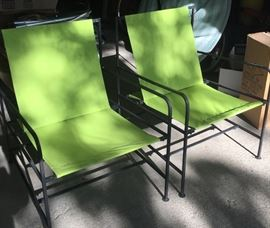 1950's iron garden chairs with side tables