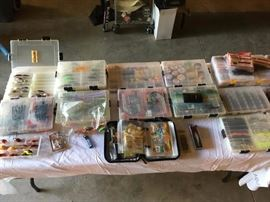 100's of fishing lures, worms, spoons, jigs, rigs, weights, line, and equipment to make your own.