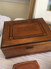 Lovely marquetry box with key.