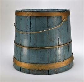 703:  LG Blue Painted Firkin