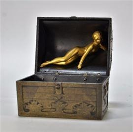 705:  Little Bronze w/ Nude Treasure Chest Box