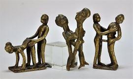 707:  3 Indian Erotic Bronze Sculptures