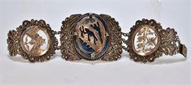 706: Silver and Malachite Bracelet