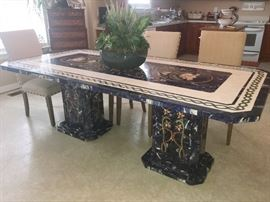 """Pietre Dure"" Italian Art Mosaic Table.  Gem Stones used in table are as follows:  Blue - Sodalite/  Red - Jasper/ Orange - Calcite/  Olive Green&White - Dolomite/ Pink - Onyx/ Green - Serpentine Quartz"