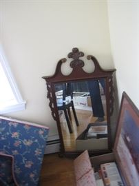 Mahogany mirror with brass trim all ready to give correct accents to your colonial home.