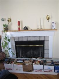 Beautiful fireplace, glass candlesticks, even the plant and books so you can pull up a chair and enjoy the warmth.