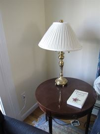"""brass lamp for anyplace in the house with """"Plymouth County"""" book - one of many"""