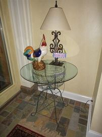 Wire Table, lamp, Rooster