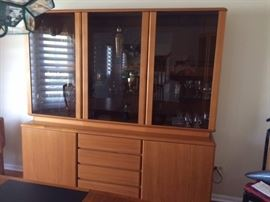 Danish Sideboard - Mid Century Modern Glass front cabinets