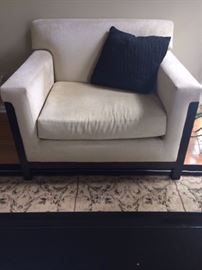 Oversized Arm Chair with dark wood base