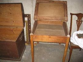 Slat front desk compartment