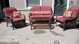 All-Weather outdoor conversation patio set(loveseat, 2 chairs and coffee table)