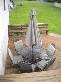 Wrought Iron Patio set with 6chairs, umbrella and base