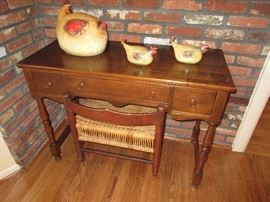 Early childs desk with Original Rush Bench - excellent condition