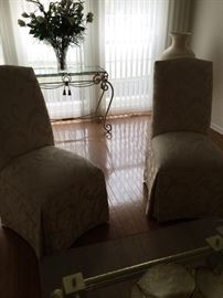 Pair of Damask Side Chairs