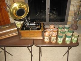 Edison Player with Cylinders (extra boxes of mint cylinders also for sale)