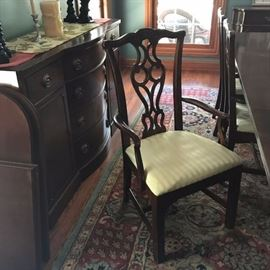 CHIPPENDALE MAHOGANY CLASSIC FORMAL DINING TABLE AND 6 CHAIRS (detail of Chair) (Buffet not for sale)