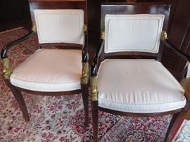 REGENCY STYLE EBONIZED ARMCHAIRS WITH GOLD ACCENTS
