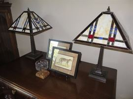 TIFFANY-STYLE MISSION TABLE LAMPS