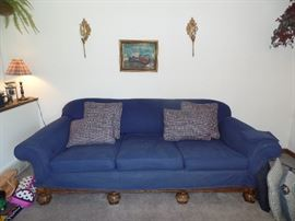 Vintage couch - the blue fabric is a slip cover