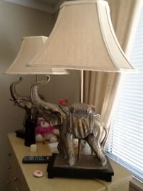 Pair elephant lamps with costume silk shades-$ 75 pr