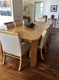 Fantastic Baker Furniture Dining Table  Has metal tag 8 Upholstered   Chairs 2 large leaves.