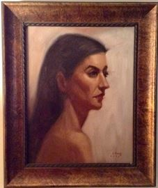"""Oil signed Chang 11""""x14"""" Portrait of a Woman"""