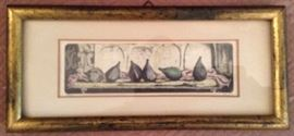 """""""Figs"""" by Vicente Gandia (1935-2009) Spain, Colored Etching, 9""""x4""""."""
