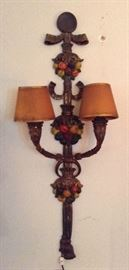 Painted Iron Wall Sconce...Needs American Rewiring