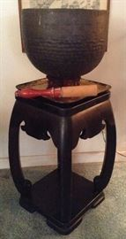 Hand Hammered Japanese Bronze Gong and Mallet on Laquer Stand