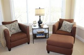 Berhhardt Upholstered Chairs and ottoman