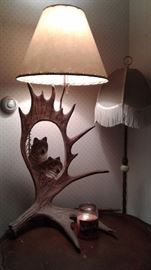 2 big lamps. Elk and wolf table lamp Antique fringe floor lamp, blue