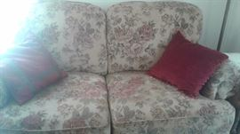Floral tapestry sofa and love seat
