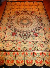 Hand-Knotted Rug with Tulip Motif