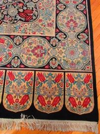Detail of Hand-Knotted Rug with Tulip Motif