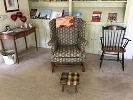 game table, wing chair and side chair