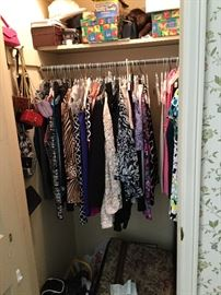 Lots of nice women's clothing sizes M-L and size 8 shoes