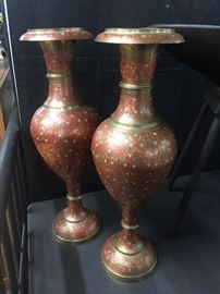 Large brass floor vases