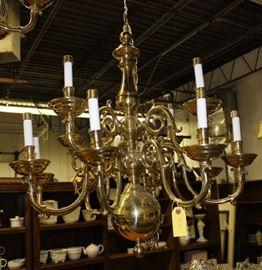 Brass chandelier.