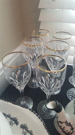 Gorham Gold Trim Crystal Wine Glasses & Goblets (not shown)