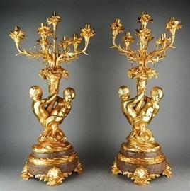 French Dore Bronze 7Light Figural Candelabra