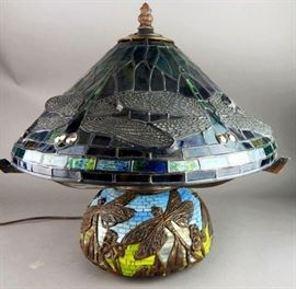 Tiffany Style Leaded Glass and Mosaic Tile Dragonfly Lamp