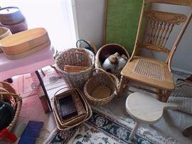 Many baskets,  wicker and boxes. Oak rocker is $45.00