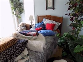 antique twin bed,   $125.00 3 hand-made quilts