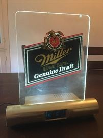Miller Genuine Draft alarm clock and light - works!
